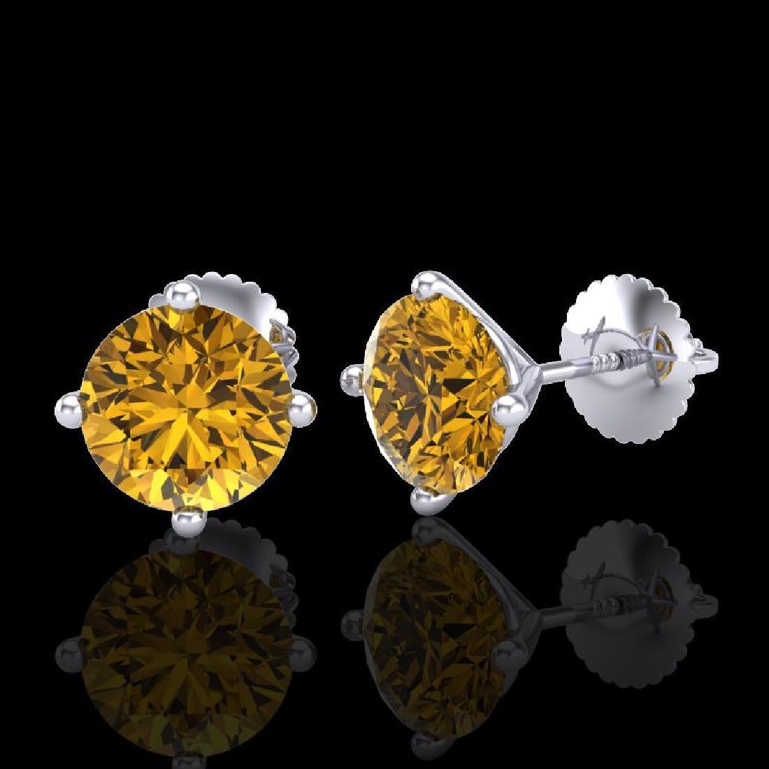 2.5 CTW Intense Fancy Yellow Diamond Art Deco Stud - 2