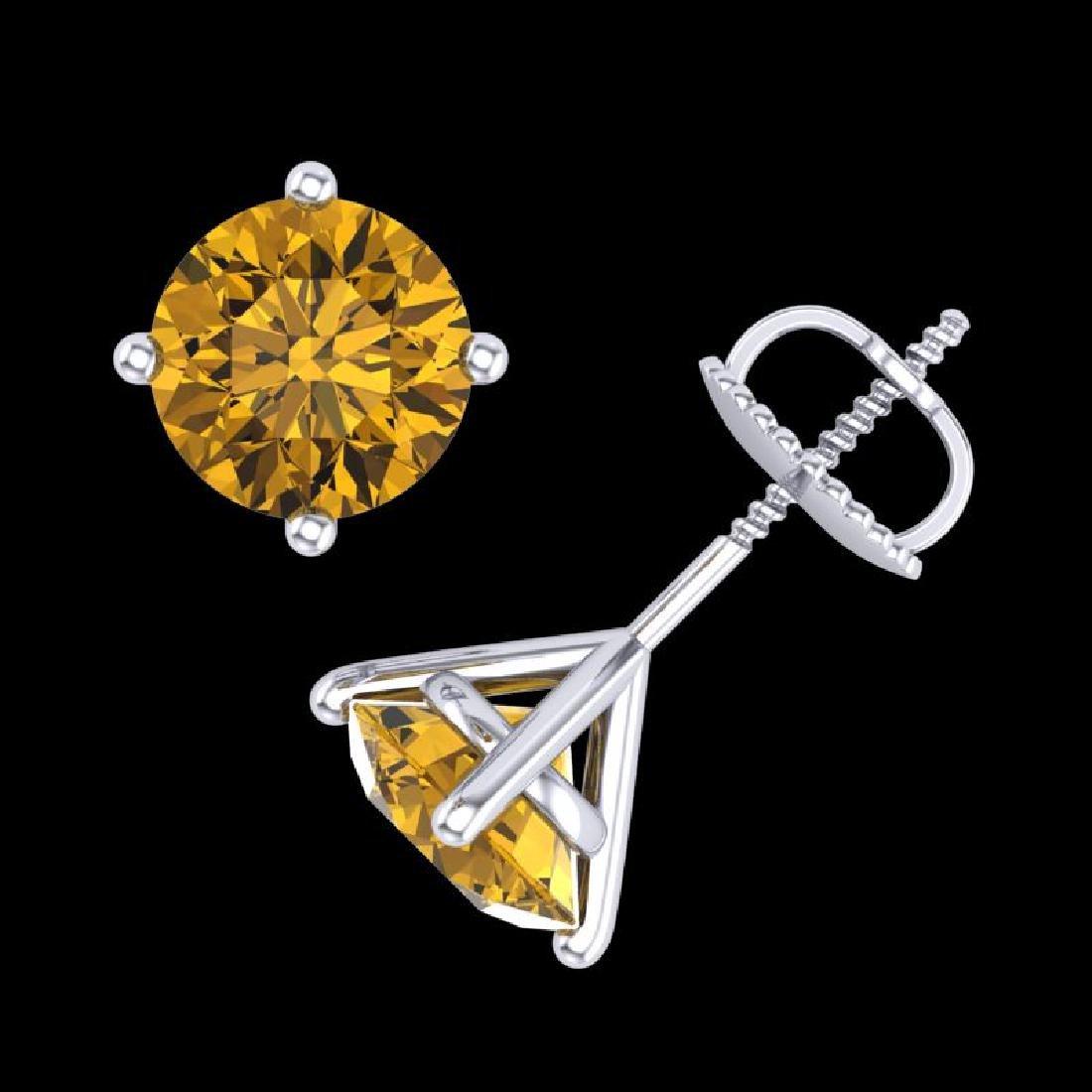2.5 CTW Intense Fancy Yellow Diamond Art Deco Stud - 3