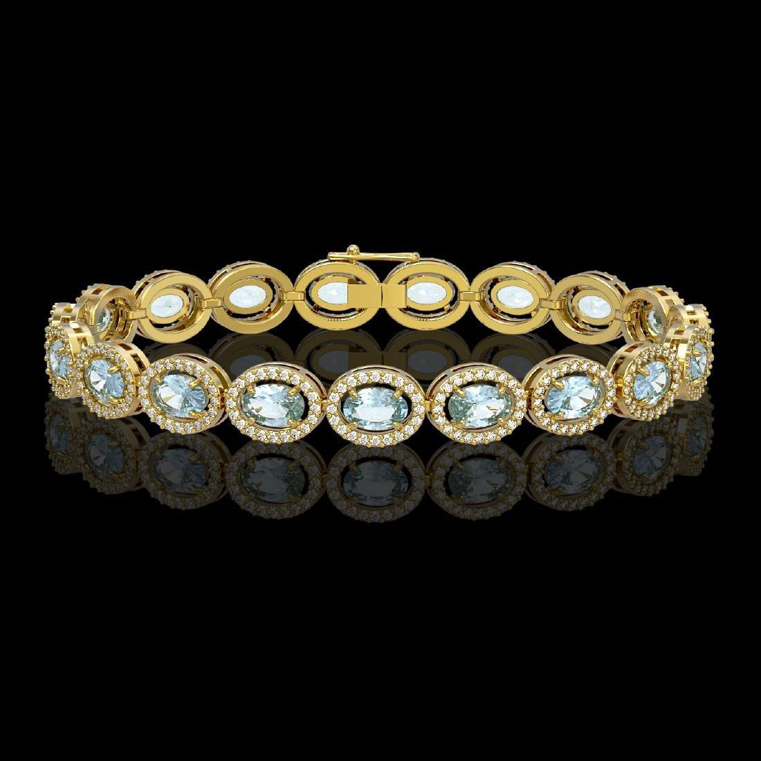 11.02 CTW Aquamarine & Diamond Halo Bracelet 10K Yellow