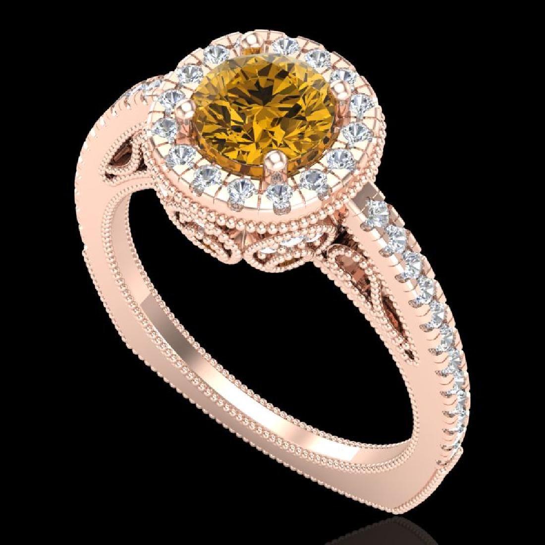 1.55 CTW Intense Fancy Yellow Diamond Engagement Art