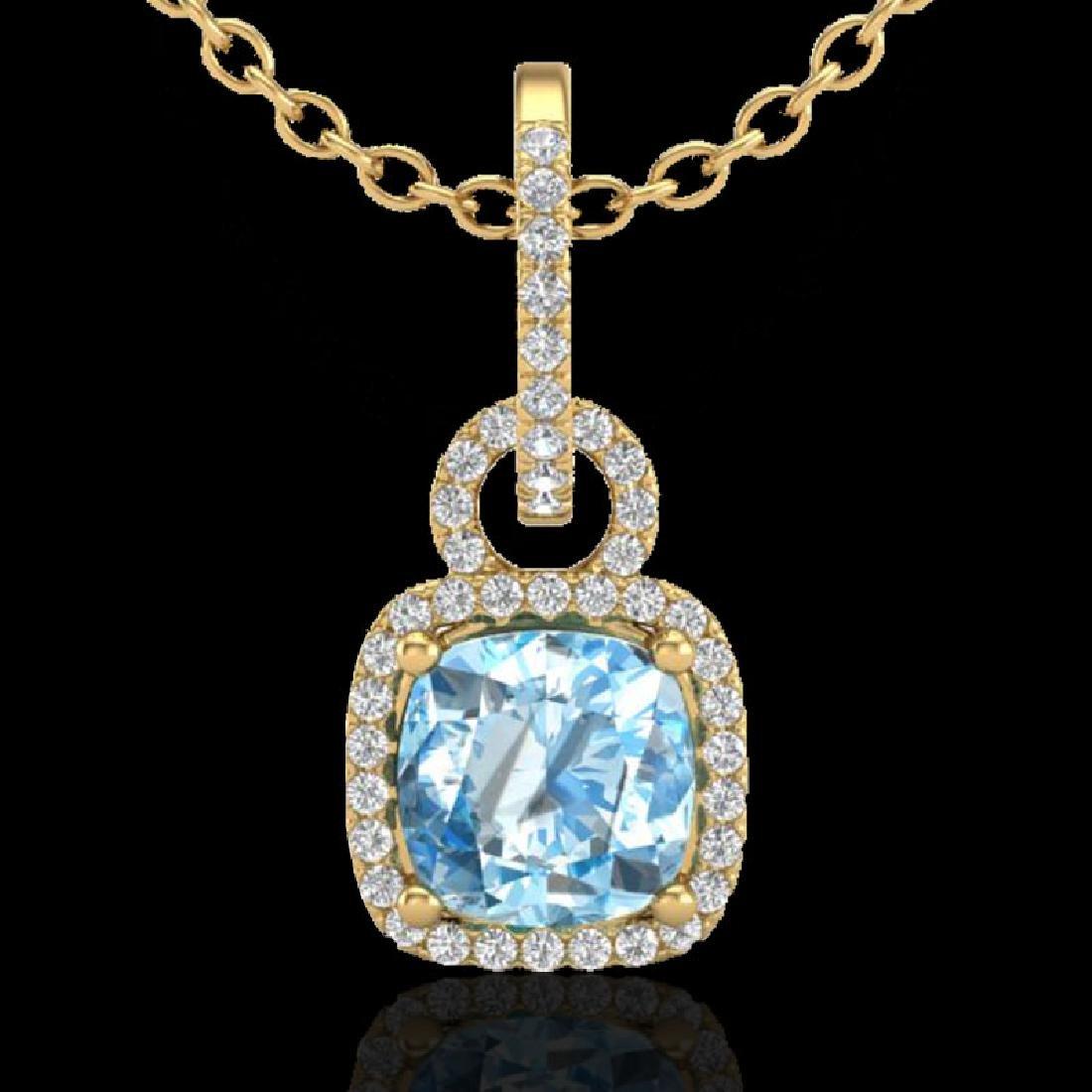 3.50 CTW Topaz & Micro VS/SI Diamond Necklace 18K