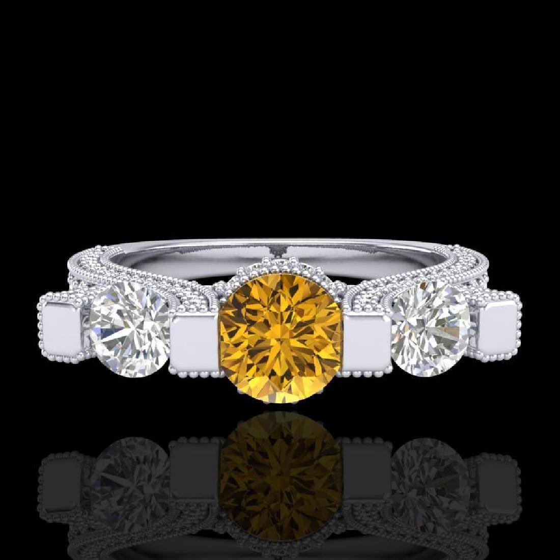 2.3 CTW Intense Fancy Yellow Diamond Micro Pave 3 Stone - 2