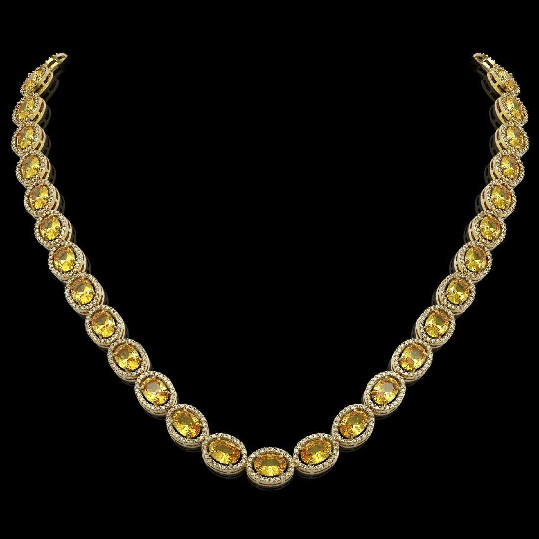 46.39 CTW Fancy Citrine & Diamond Halo Necklace 10K