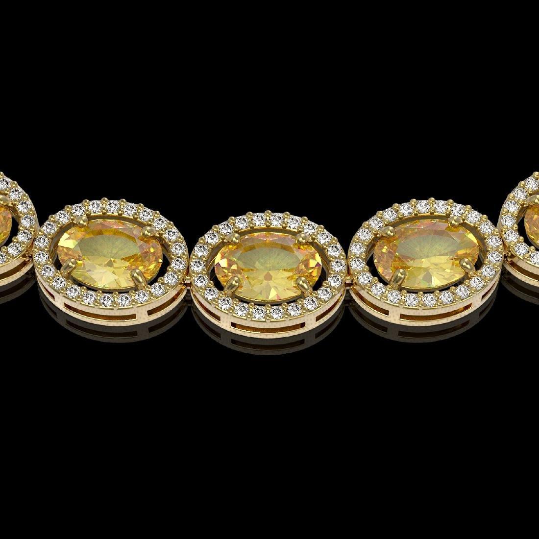 46.39 CTW Fancy Citrine & Diamond Halo Necklace 10K - 3