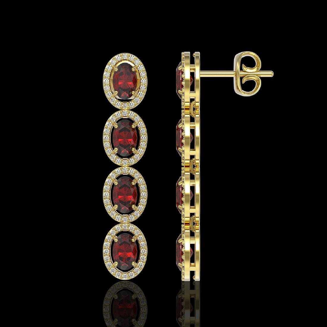 6.2 CTW Garnet & Diamond Halo Earrings 10K Yellow Gold - 2