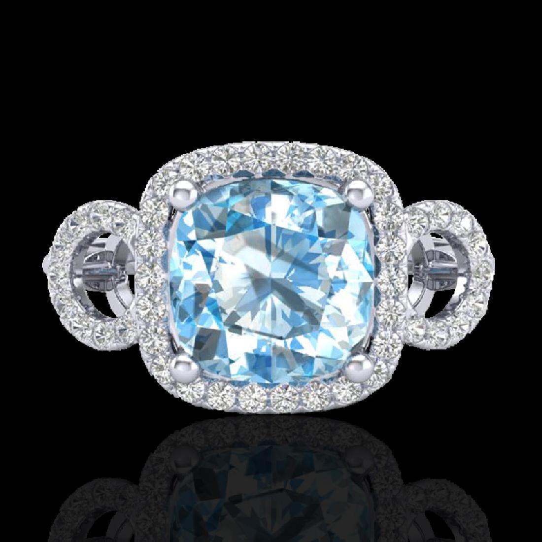 3.75 CTW Topaz & Micro VS/SI Diamond Ring 18K White