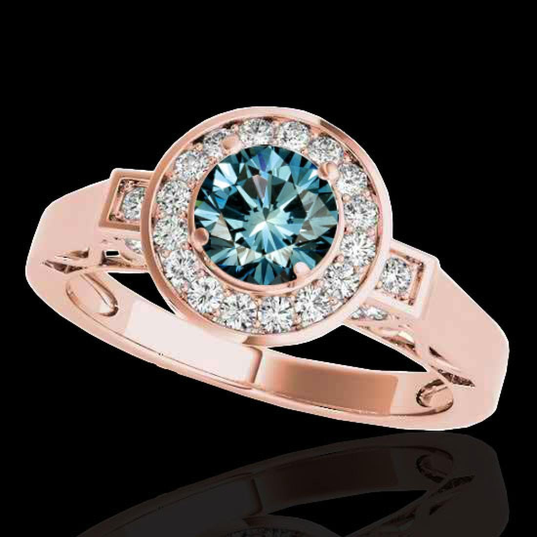 1.75 CTW SI Certified Fancy Blue Diamond Solitaire Halo