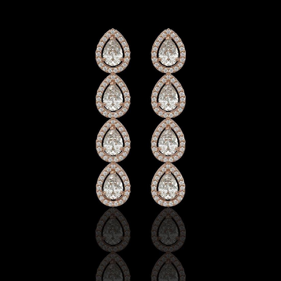 5.22 CTW Pear Diamond Designer Earrings 18K Rose Gold