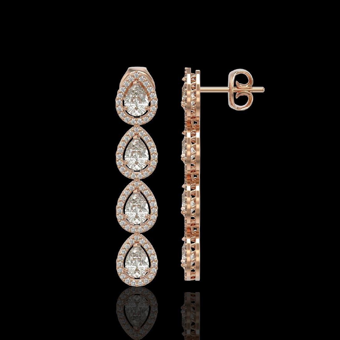 5.22 CTW Pear Diamond Designer Earrings 18K Rose Gold - 2