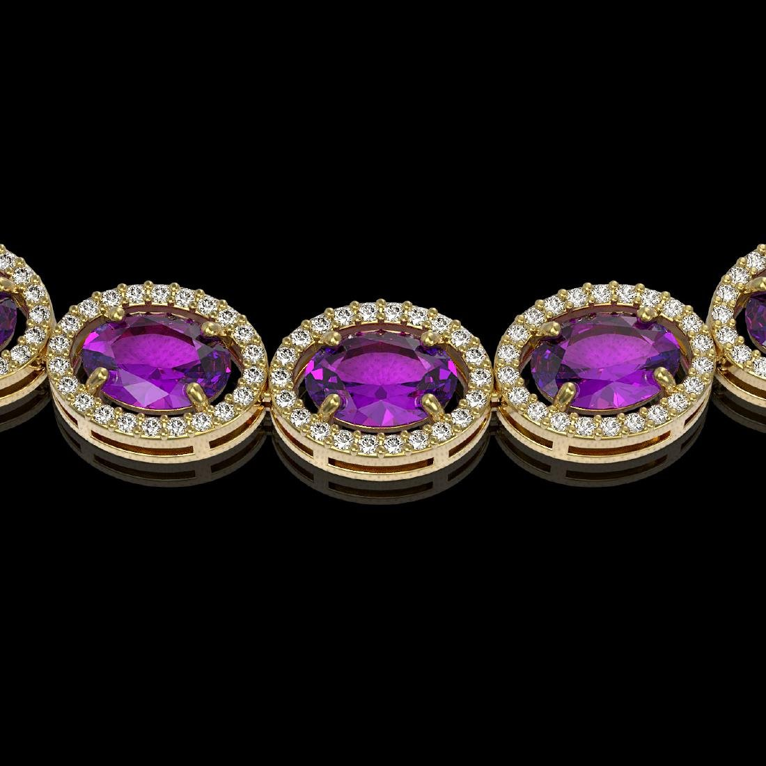 45.16 CTW Amethyst & Diamond Halo Necklace 10K Yellow - 3