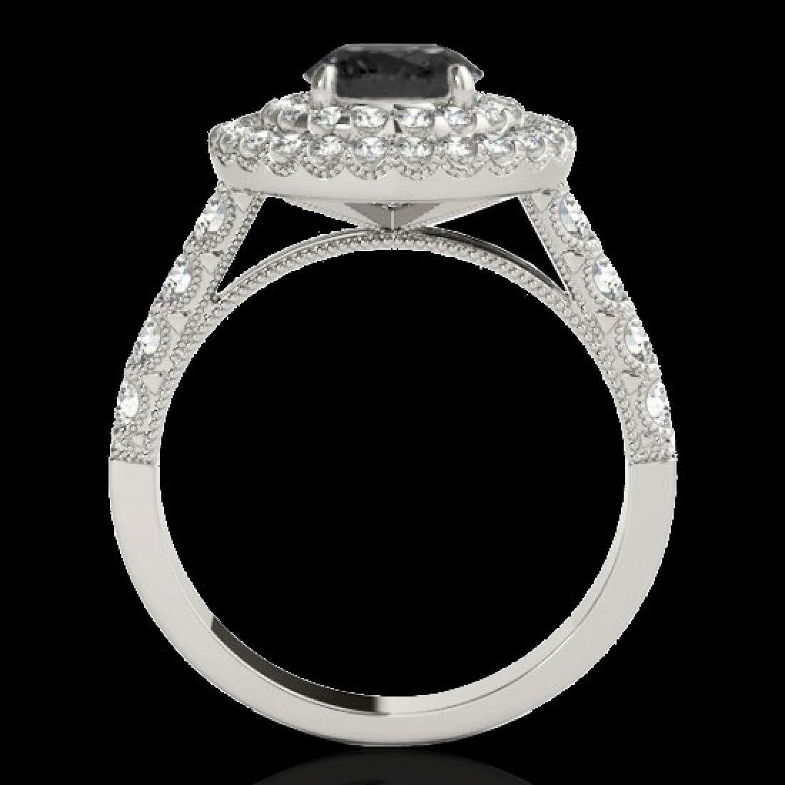 3 CTW Certified VS Black Diamond Solitaire Halo Ring - 2
