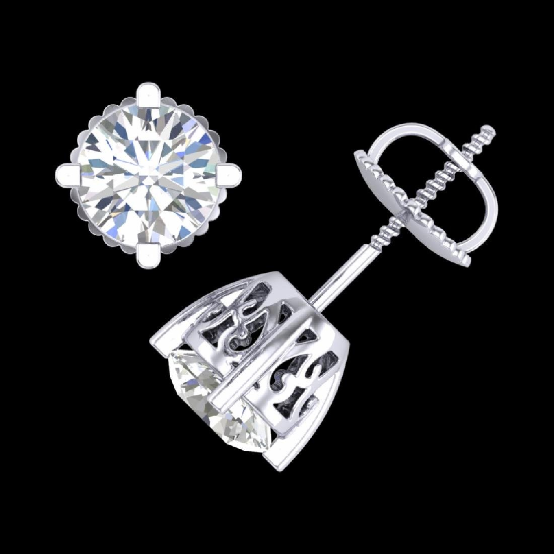 1.5 CTW VS/SI Diamond Solitaire Art Deco Stud Earrings - 2