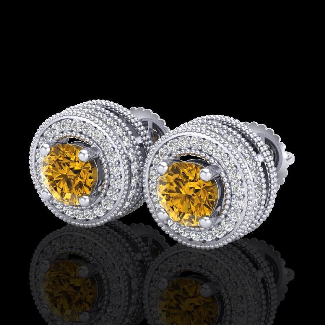 2.09 CTW Intense Fancy Yellow Diamond Art Deco Stud