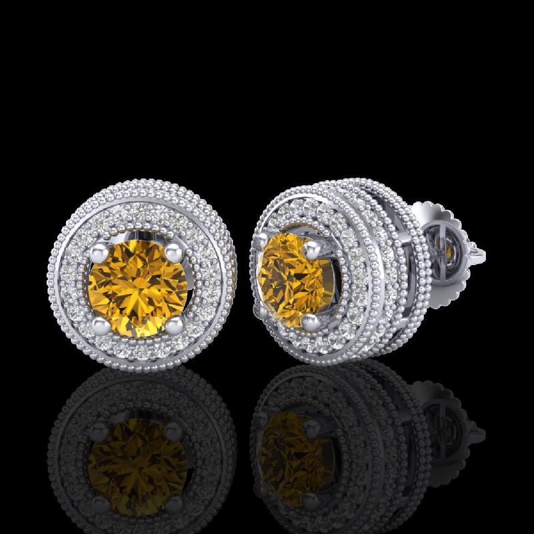 2.09 CTW Intense Fancy Yellow Diamond Art Deco Stud - 2