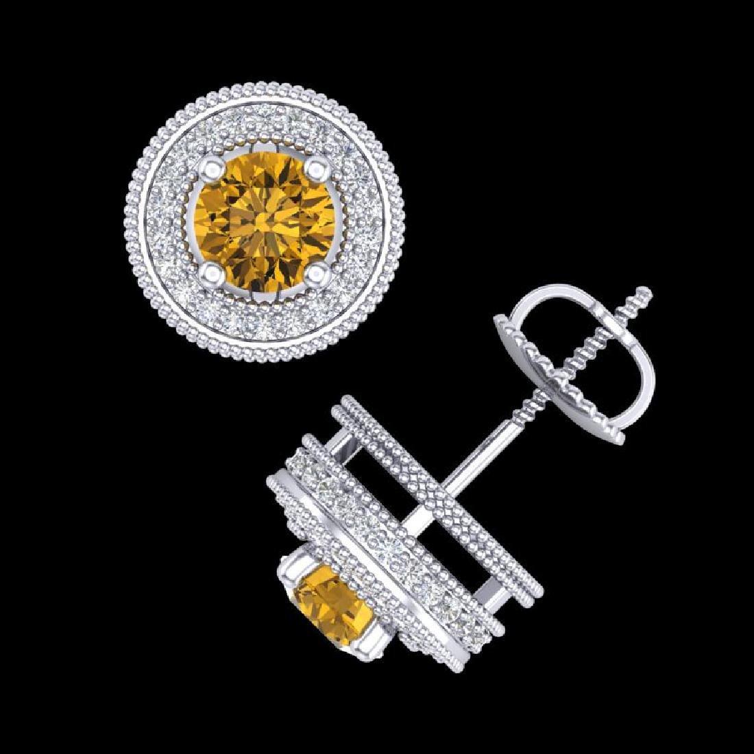 2.09 CTW Intense Fancy Yellow Diamond Art Deco Stud - 3