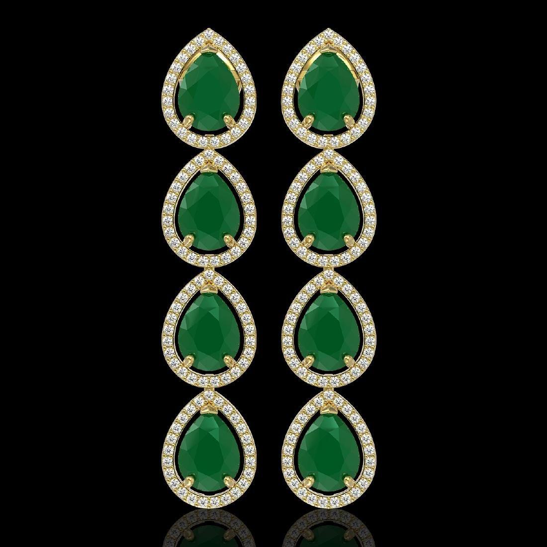 16.01 CTW Emerald & Diamond Halo Earrings 10K Yellow