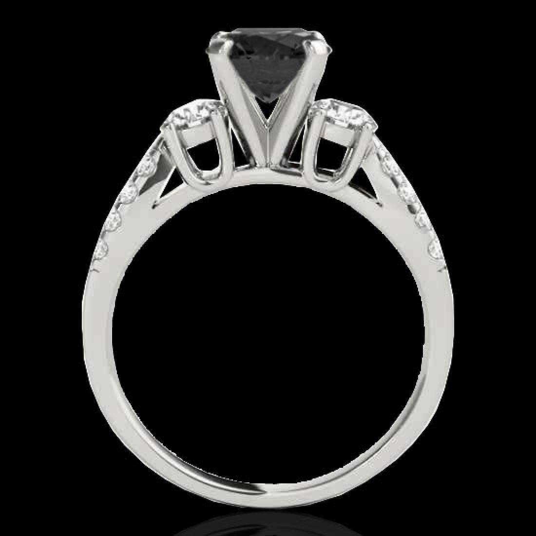 1.5 CTW Certified VS Black Diamond 3 Stone Ring 10K - 2