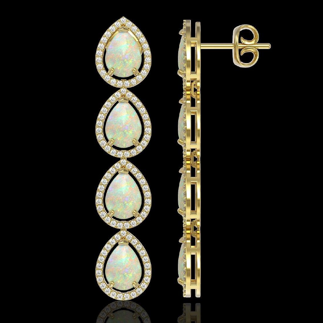 9.12 CTW Opal & Diamond Halo Earrings 10K Yellow Gold - 2