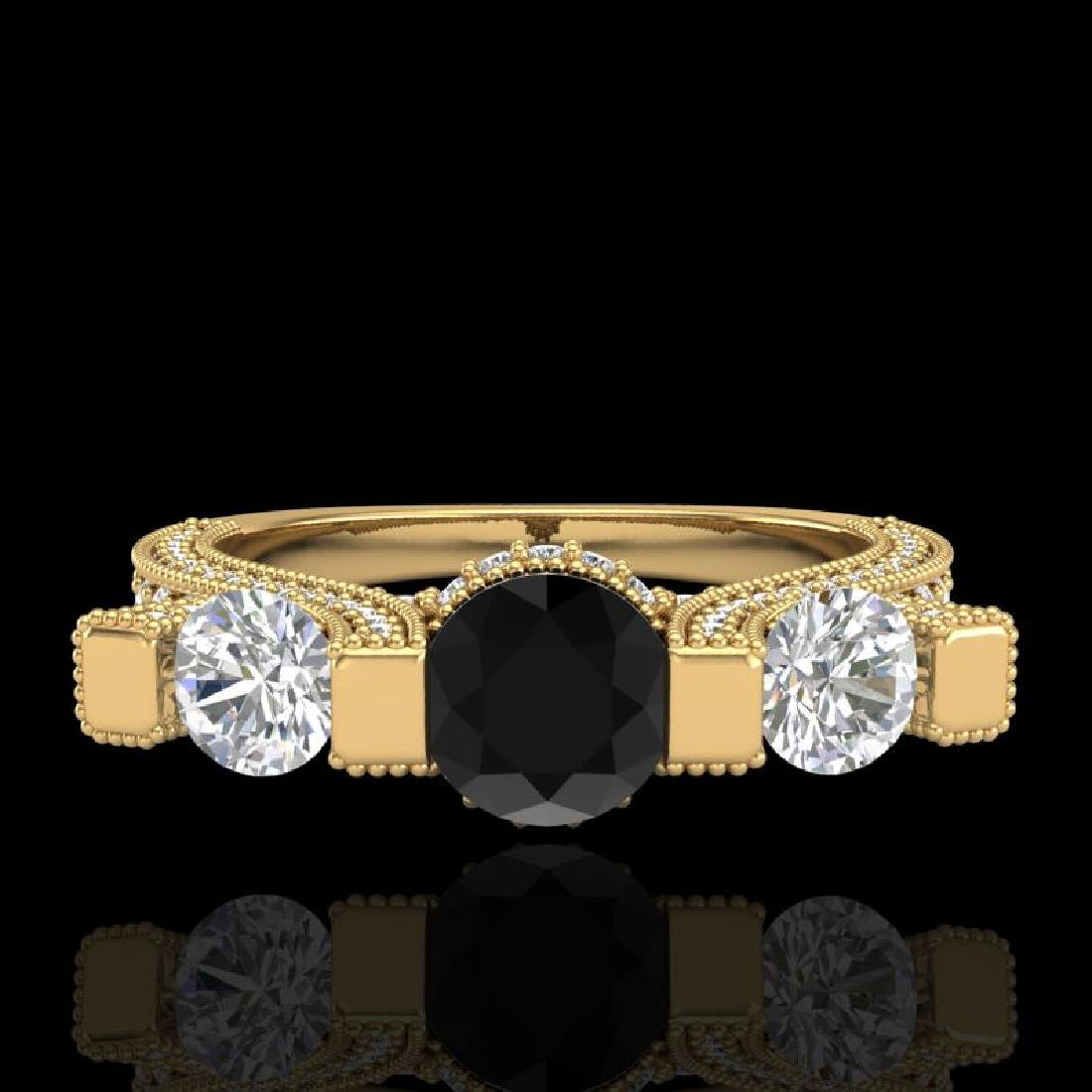 2.3 CTW Fancy Black Diamond Solitaire Micro Pave 3 - 2