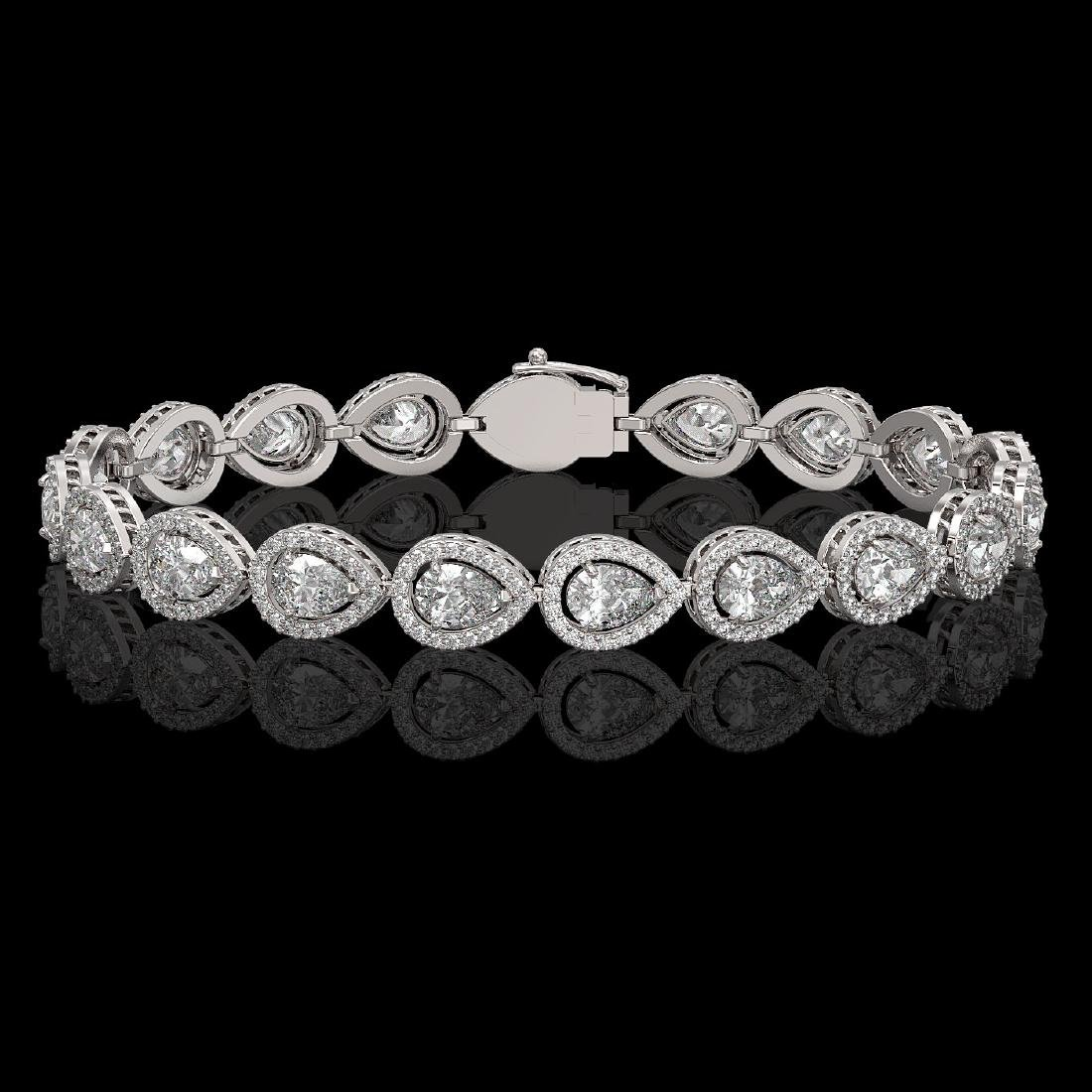 12.38 CTW Pear Diamond Designer Bracelet 18K White Gold