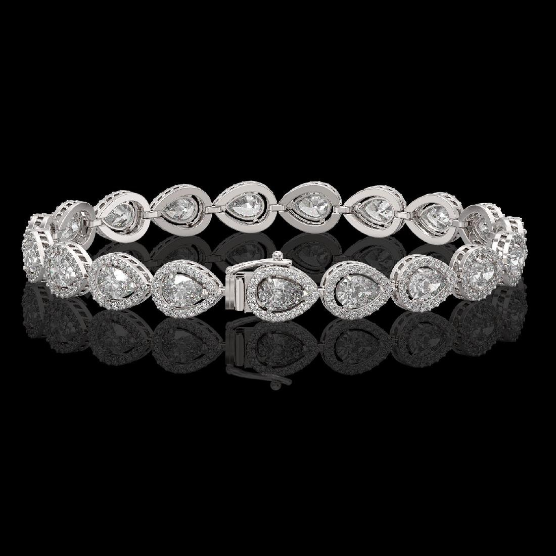 12.38 CTW Pear Diamond Designer Bracelet 18K White Gold - 2