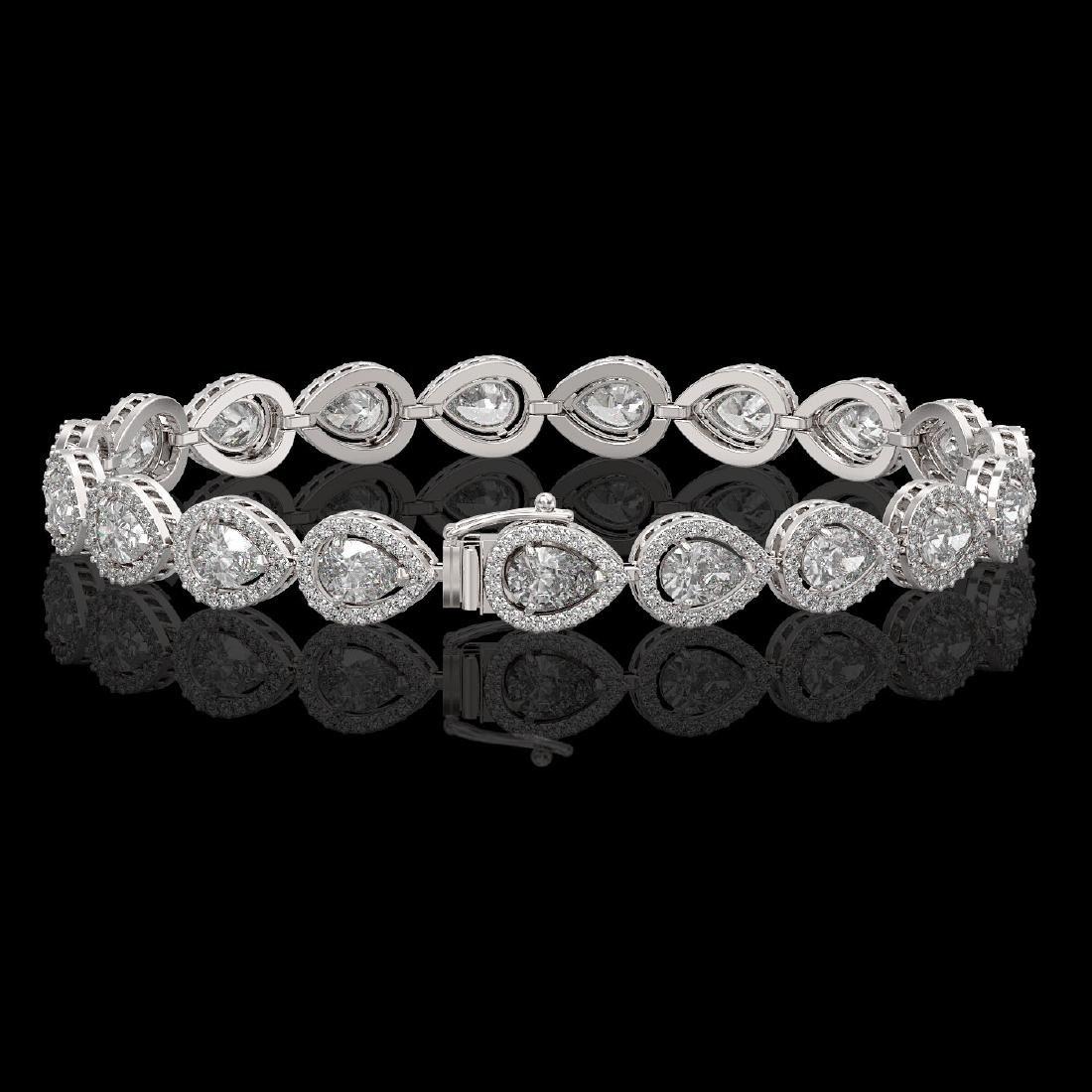 12.38 CTW Pear Diamond Designer Bracelet 18K White Gold - 2