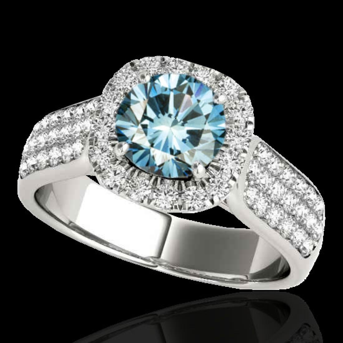 1.8 CTW SI Certified Fancy Blue Diamond Solitaire Halo