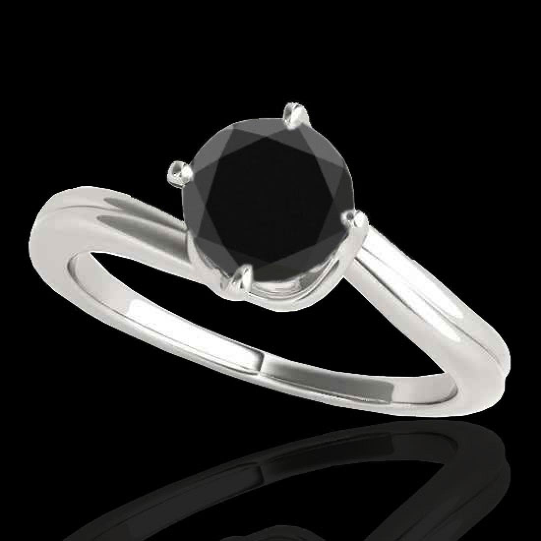 1 CTW Certified VS Black Diamond Bypass Solitaire Ring
