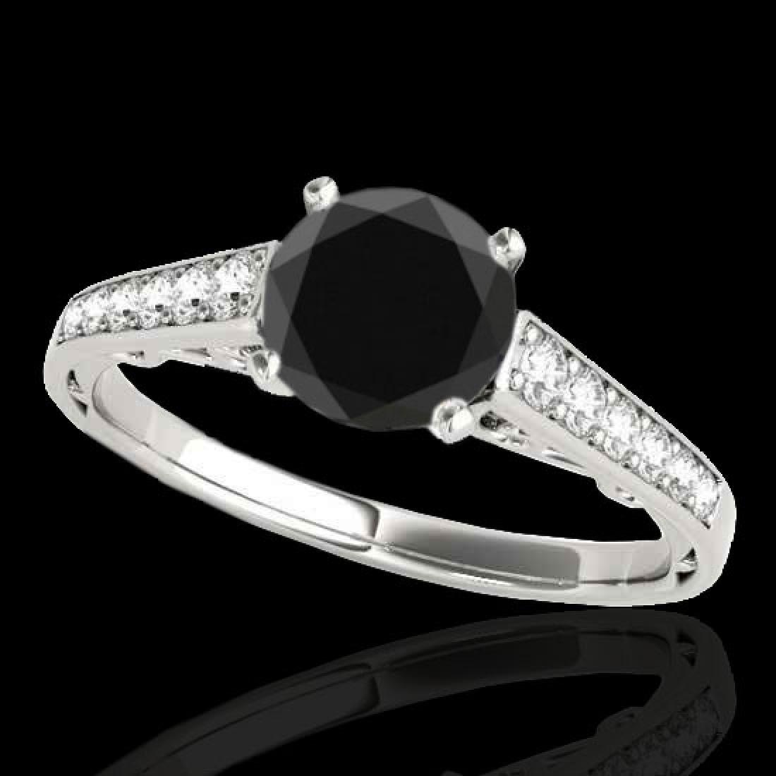1.35 CTW Certified VS Black Diamond Solitaire Ring 10K