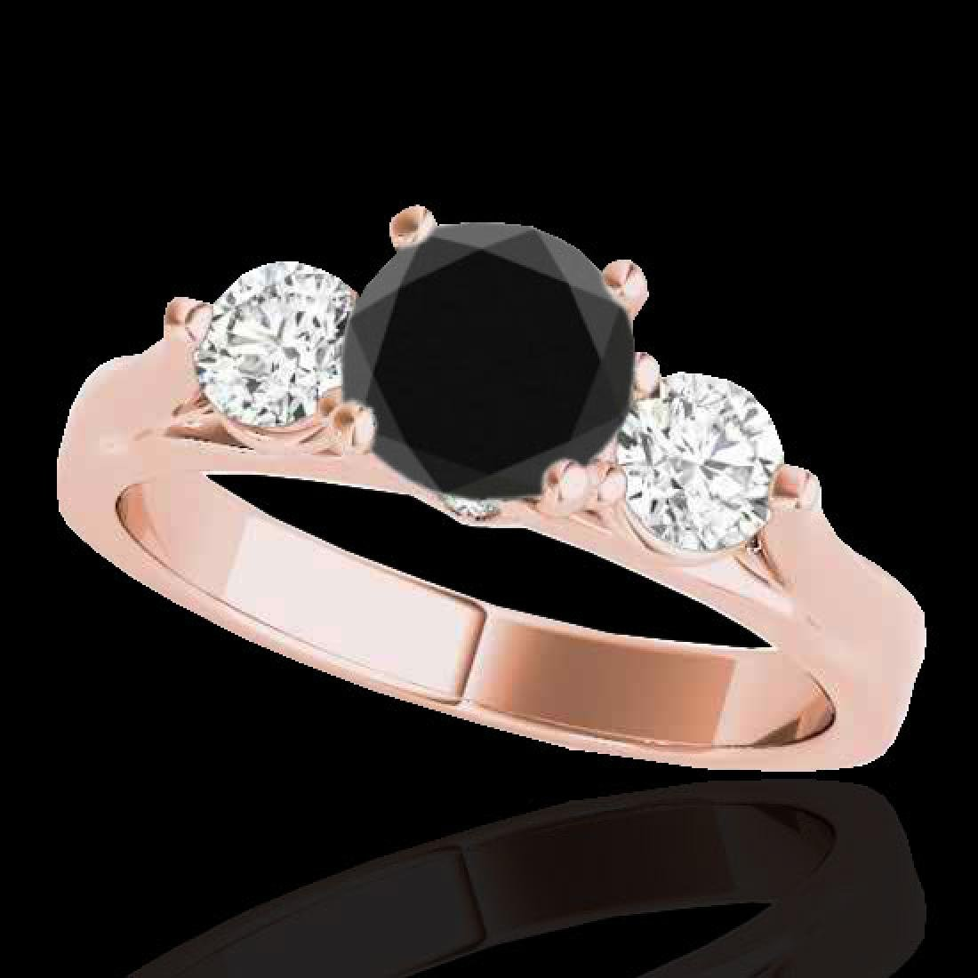 1.75 CTW Certified VS Black Diamond 3 Stone Ring 10K