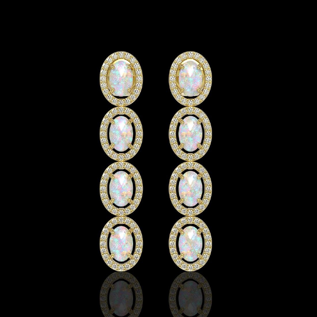 4.05 CTW Opal & Diamond Halo Earrings 10K Yellow Gold