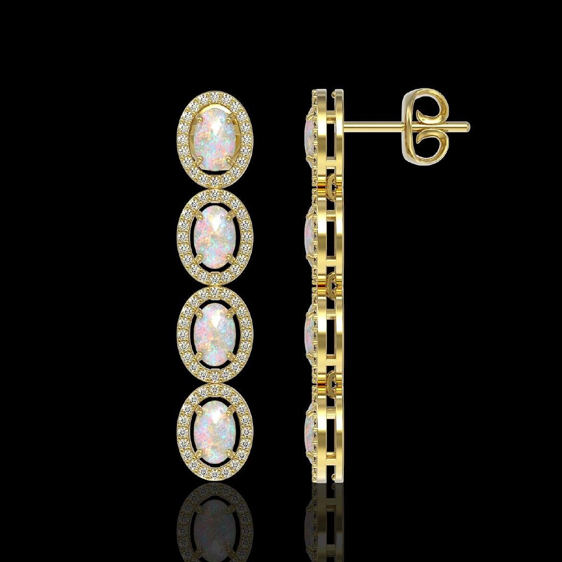 4.05 CTW Opal & Diamond Halo Earrings 10K Yellow Gold - 2