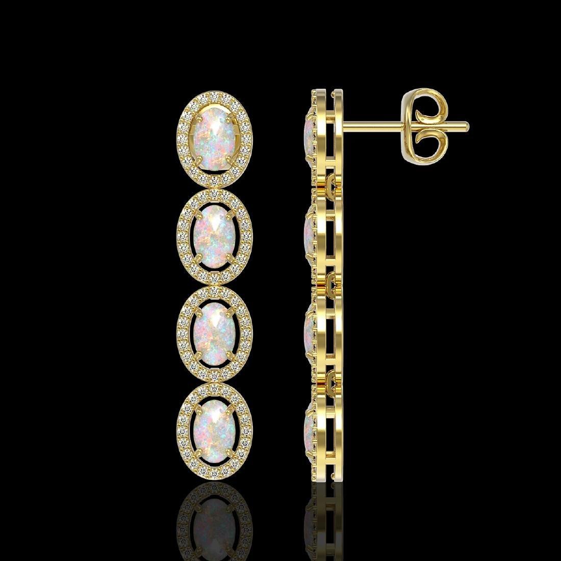 4.05 CTW Opal & Diamond Halo Earrings 10K Yellow Gold - 2