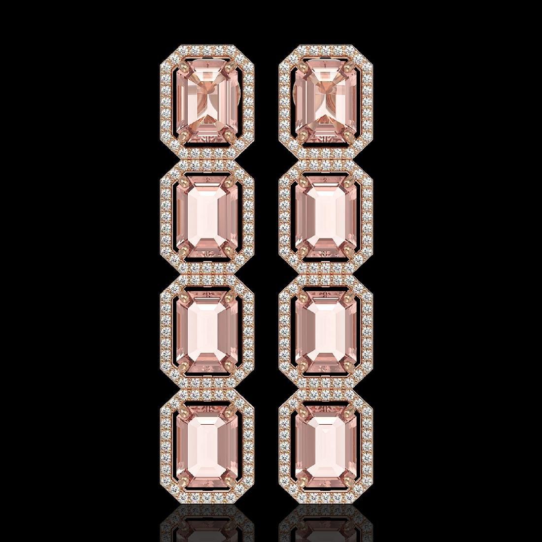 19.81 CTW Morganite & Diamond Halo Earrings 10K Rose