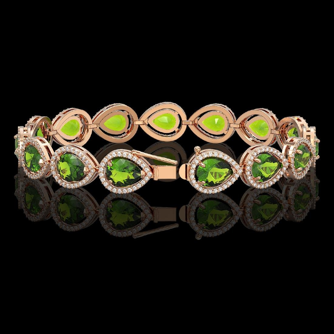 15.8 CTW Peridot & Diamond Halo Bracelet 10K Rose Gold