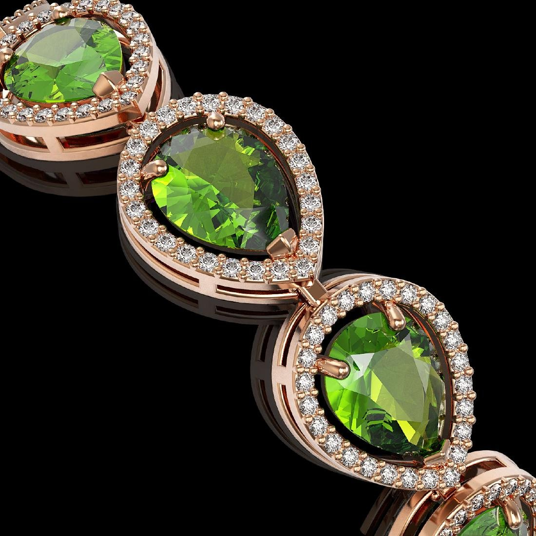 15.8 CTW Peridot & Diamond Halo Bracelet 10K Rose Gold - 2