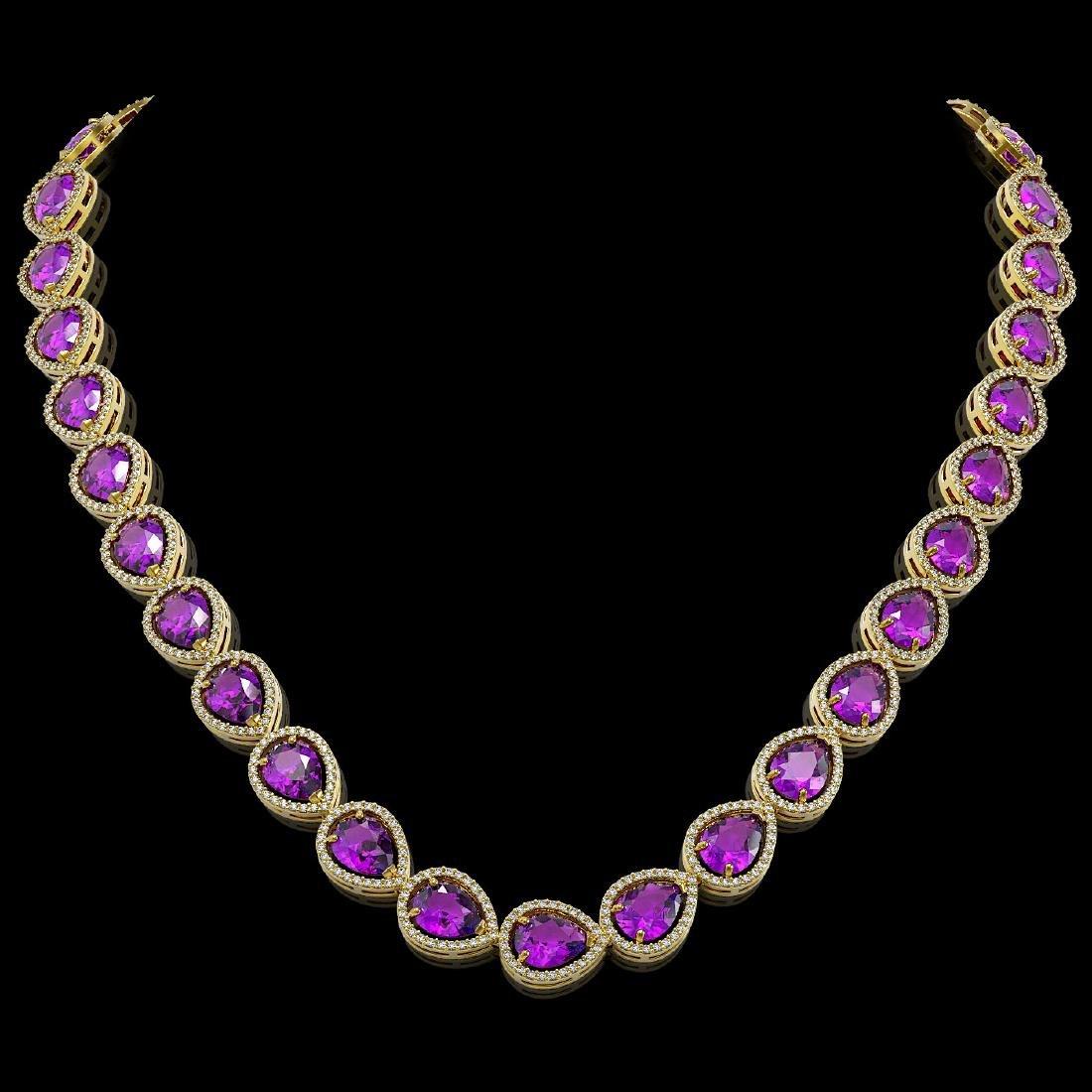 43.2 CTW Amethyst & Diamond Halo Necklace 10K Yellow