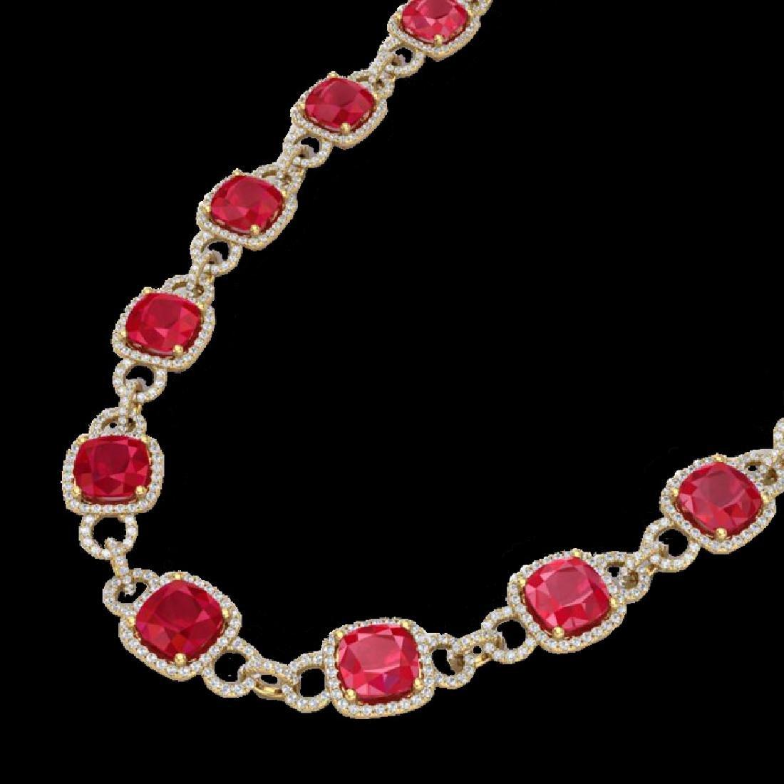 56 CTW Ruby & Micro VS/SI Diamond Eternity Necklace 14K