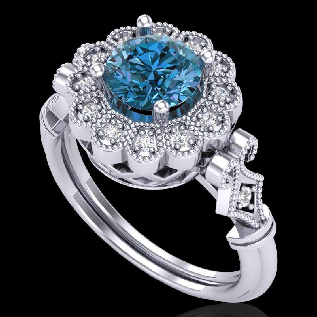 1.2 CTW Intense Blue Diamond Solitaire Engagement Art