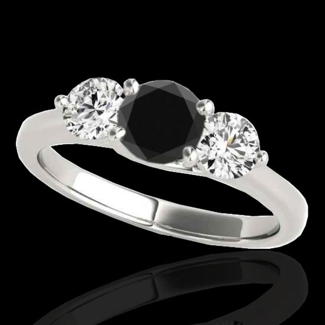 3 CTW Certified VS Black Diamond 3 Stone Solitaire Ring