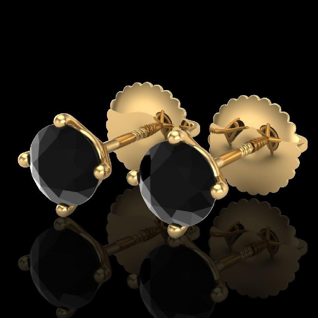1.01 CTW Fancy Black Diamond Solitaire Art Deco Stud