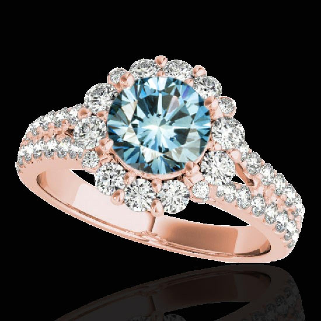 2.51 CTW SI Certified Fancy Blue Diamond Solitaire Halo