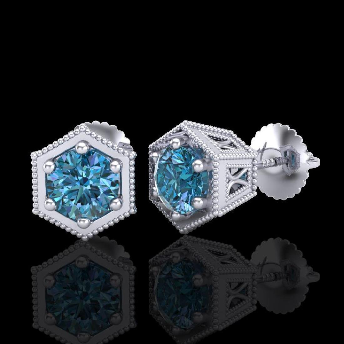 1.15 CTW Fancy Intense Blue Diamond Art Deco Stud - 2