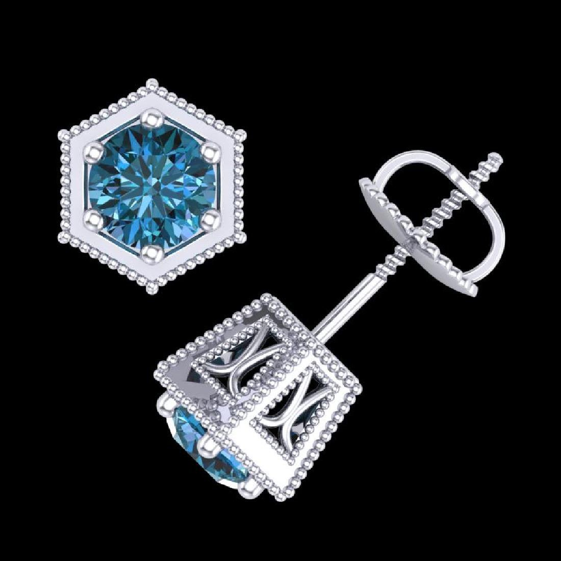 1.15 CTW Fancy Intense Blue Diamond Art Deco Stud - 3