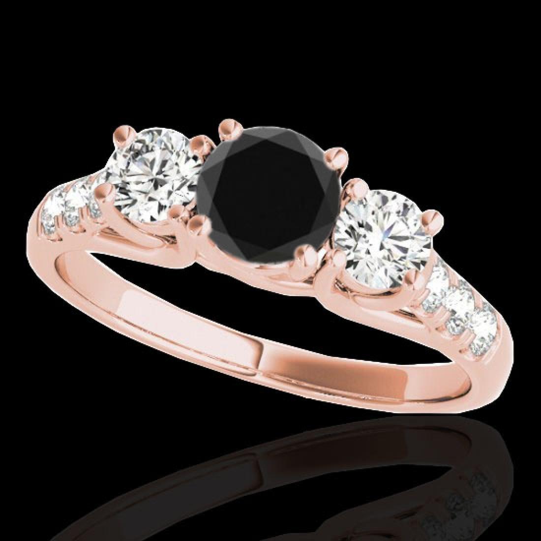 3.25 CTW Certified VS Black Diamond 3 Stone Ring 10K