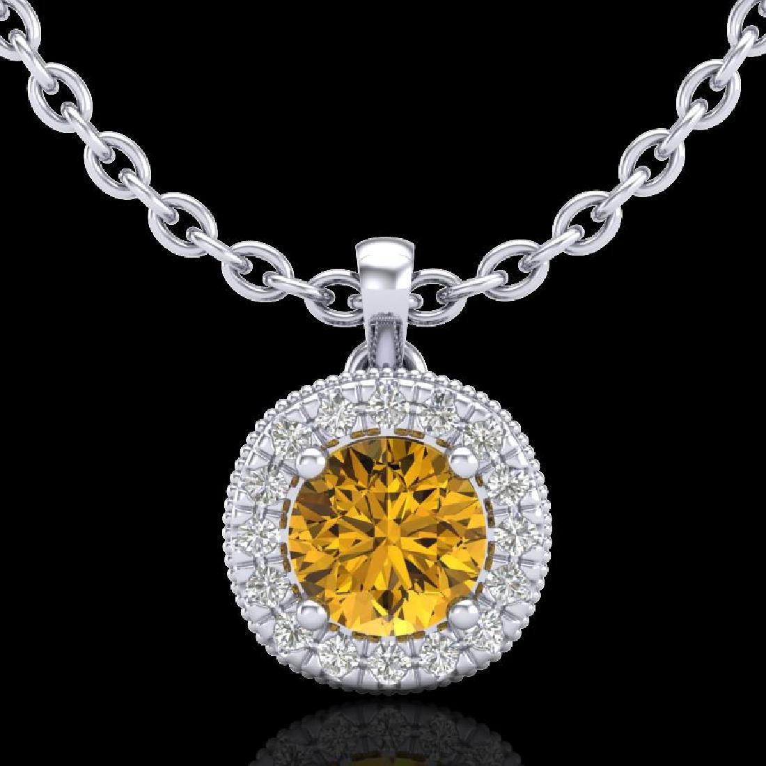 1.1 CTW Intense Fancy Yellow Diamond Art Deco Stud