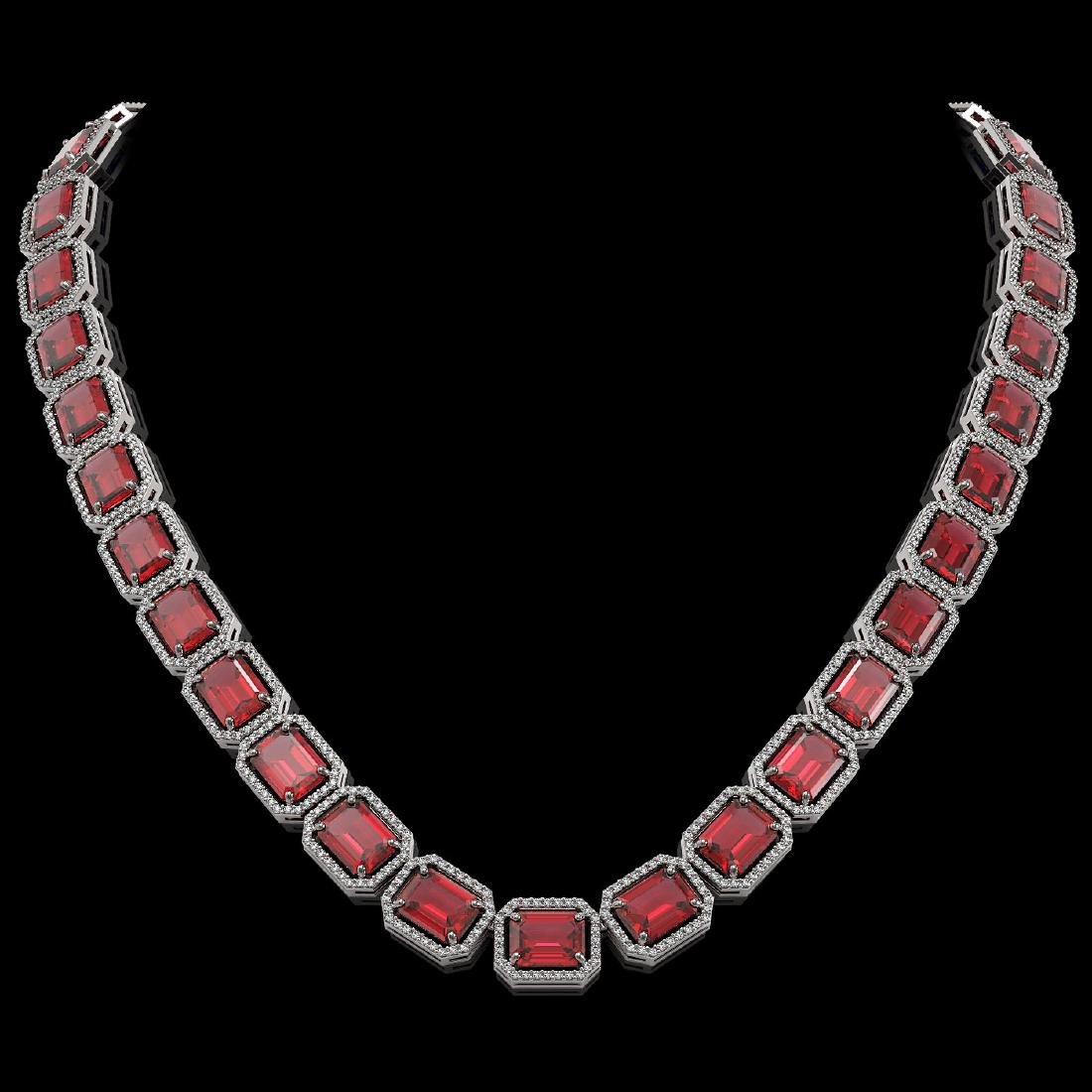 80.32 CTW Tourmaline & Diamond Halo Necklace 10K White
