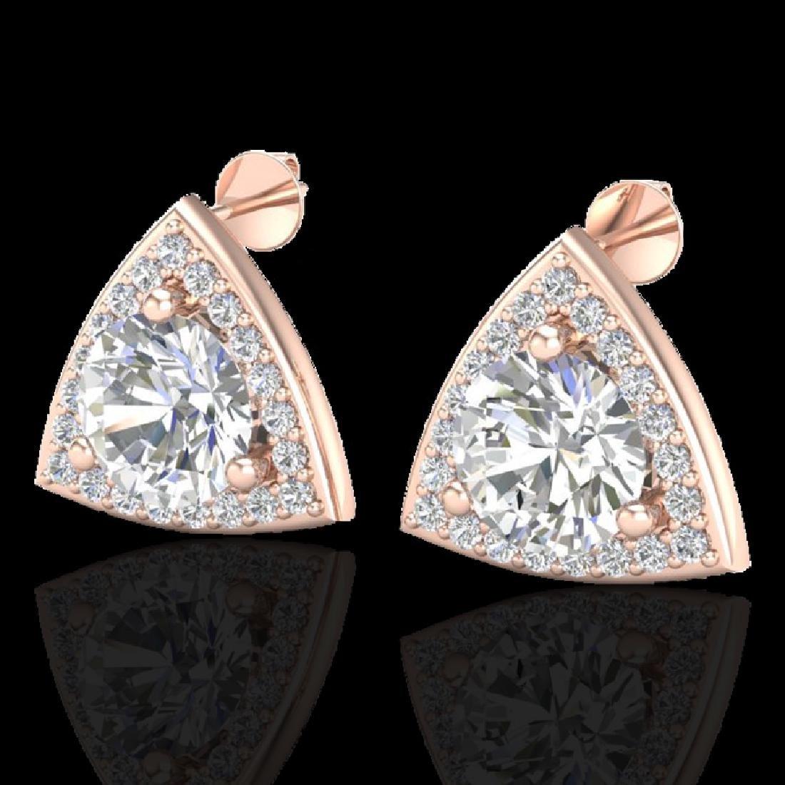 3 CTW Micro Pave Halo VS/SI Diamond Stud Earrings 14K