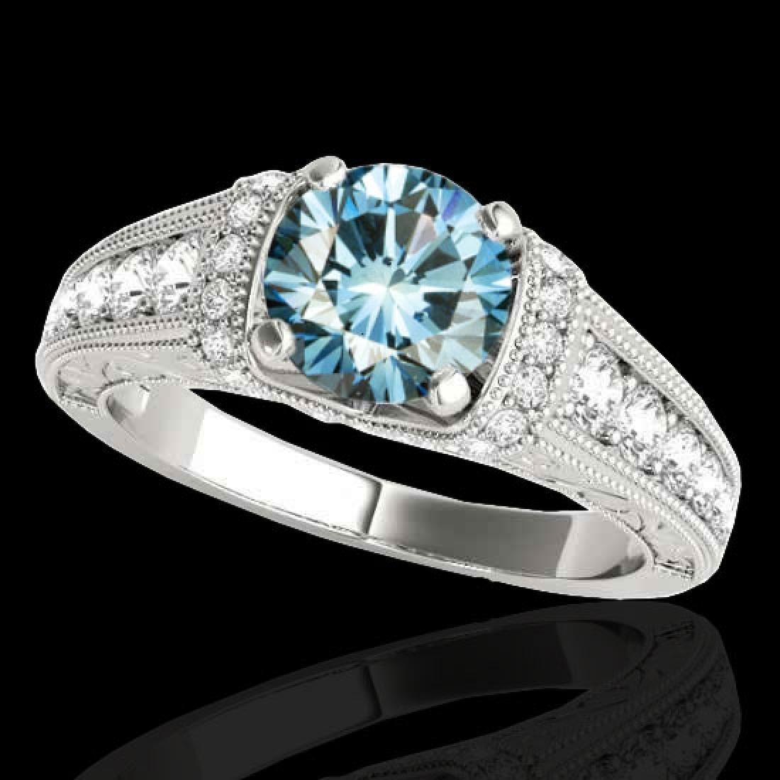 1.75 CTW SI Certified Blue Diamond Solitaire Antique