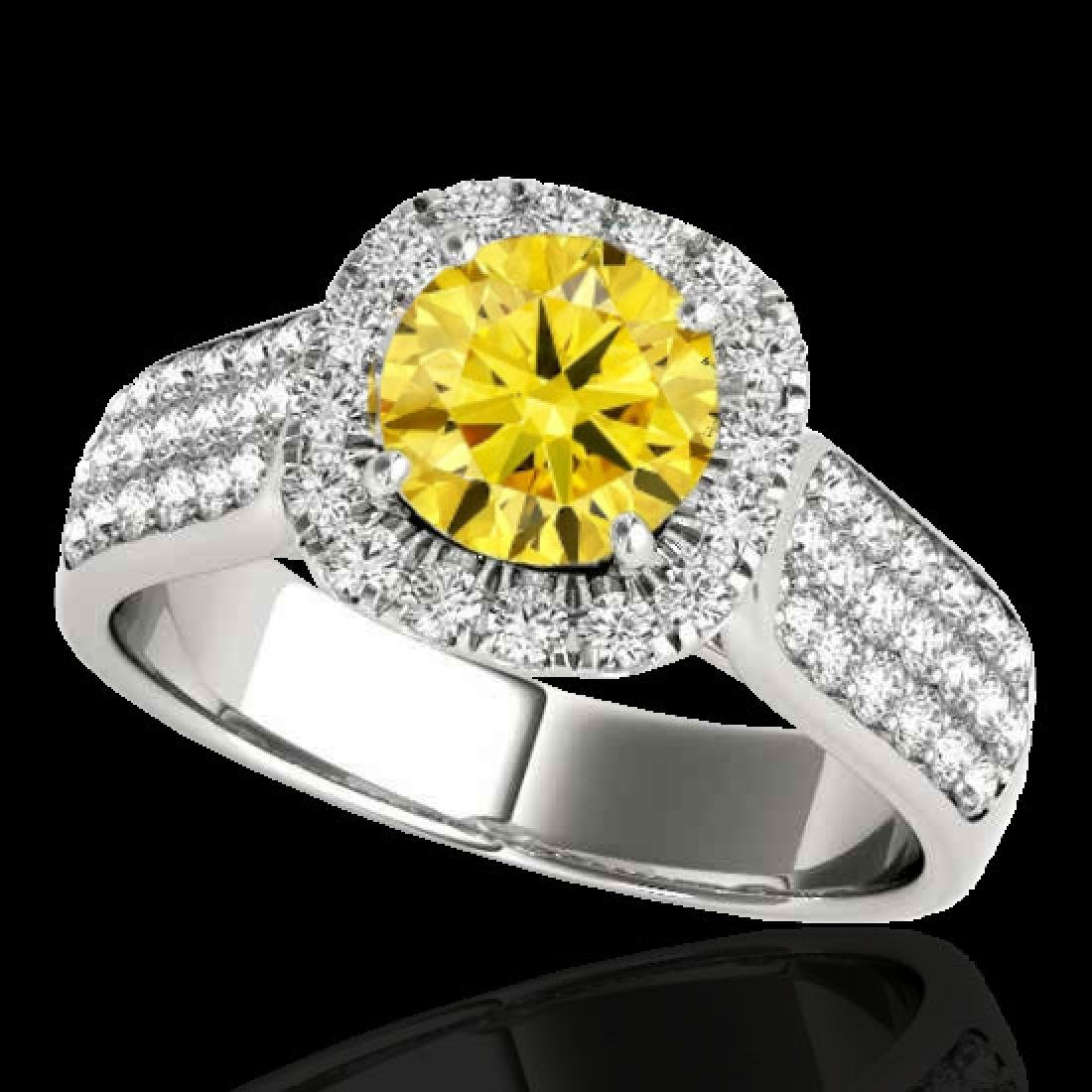 1.8 CTW Certified SI/I Fancy Intense Yellow Diamond